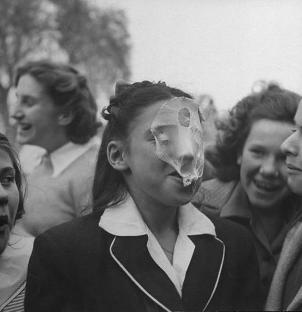 Bob Landry, A young girl blowing a large bubble gum bubble, 1946.