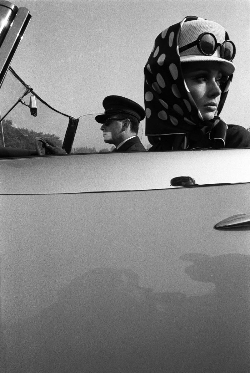 retro woman in car