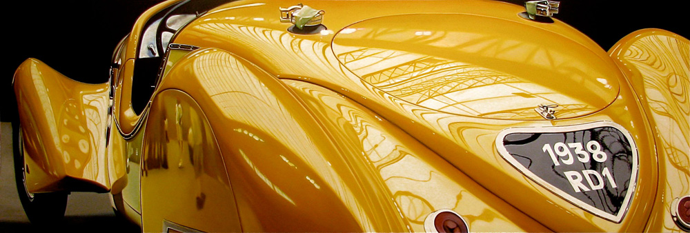 Classic muscle cars paintings by Cheryl Kelley 2 Yellow Delehaye