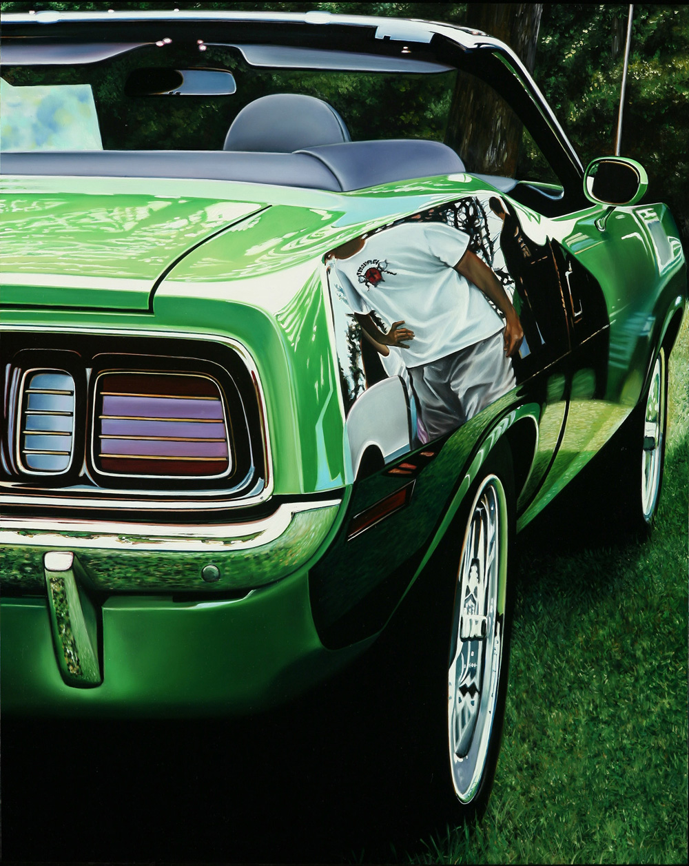 Classic muscle cars paintings by Cheryl Kelley 5 Green HemiCuda
