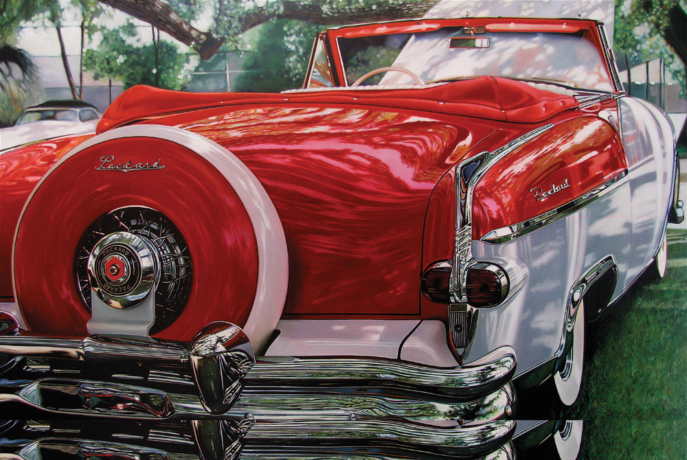 Classic muscle cars paintings by Cheryl Kelley 6 Red Packard