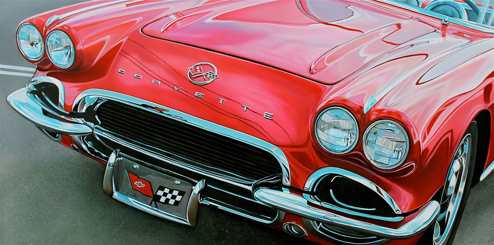 Classic muscle cars paintings by Cheryl Kelley 8 Red Corvette