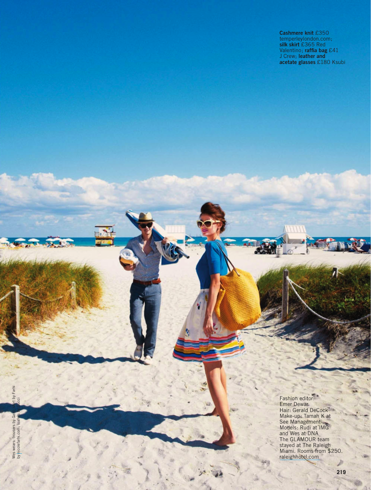 Sun sea glamour Rudi Ovchinnikova and Wes by Pamela Hanson for Glamour UK May 2013 1