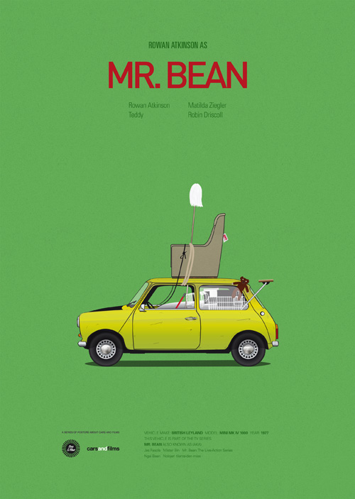 Cars and Films illustrations by Jesús Prudencio 1 mr bean movie poster