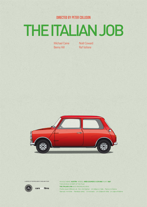 Cars and Films illustrations by Jesús Prudencio 10 the italian job movie poster