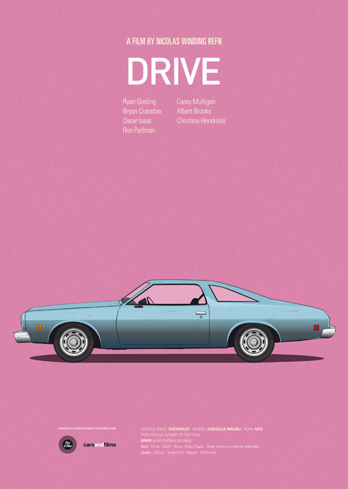 Cars and Films illustrations by Jesús Prudencio 2 drive movie poster