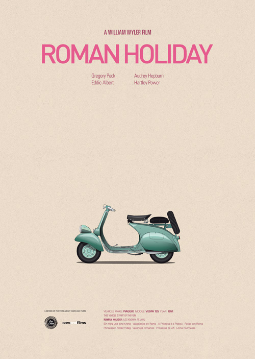 Cars and Films illustrations by Jesús Prudencio 3 roman holiday movie poster