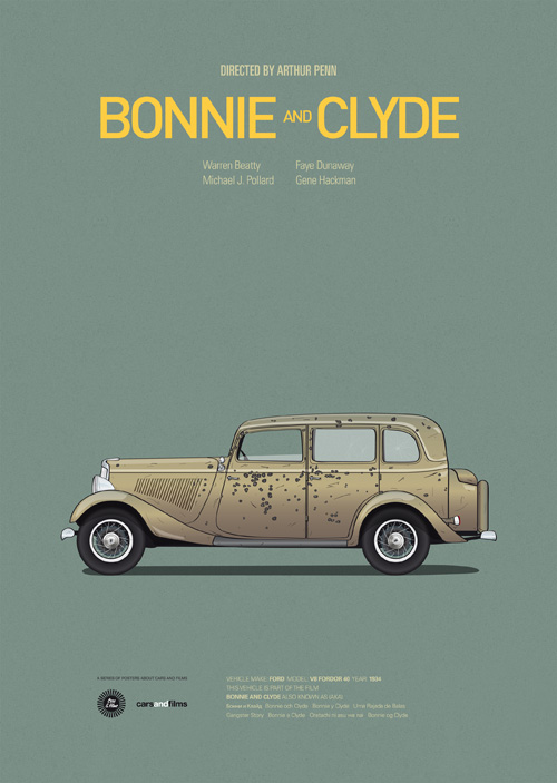 Cars and Films illustrations by Jesús Prudencio 4 bonnie clyde movie poster