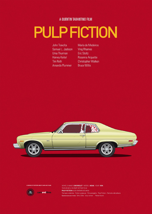 Cars and Films illustrations by Jesús Prudencio 5 pulp fiction movie poster