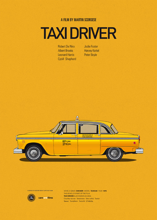 Cars and Films illustrations by Jesús Prudencio 6 taxi driver movie poster