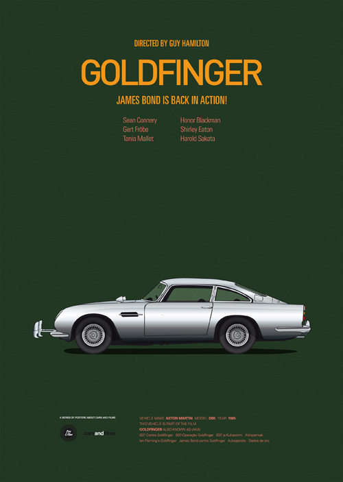 Cars and Films illustrations by Jesús Prudencio 7 goldfinger movie poster