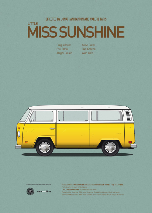 Cars and Films illustrations by Jesús Prudencio 8 little miss sunshine movie poster