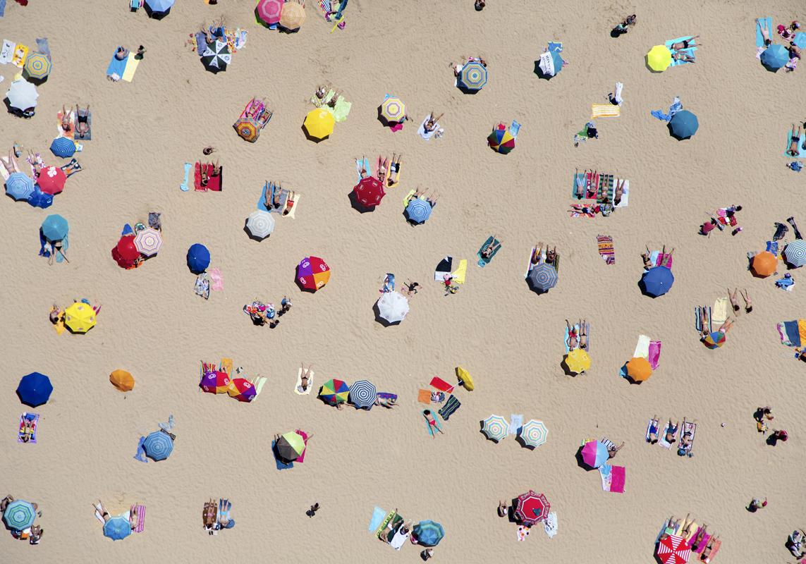 Gray Malin A La Plage A La Piscine lisbon-umbrellas