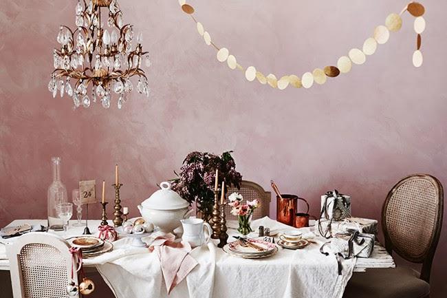 Pink linen Christmas decoration 7