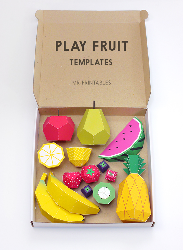 Play fruit paper toys by Mr Printables - templates 1