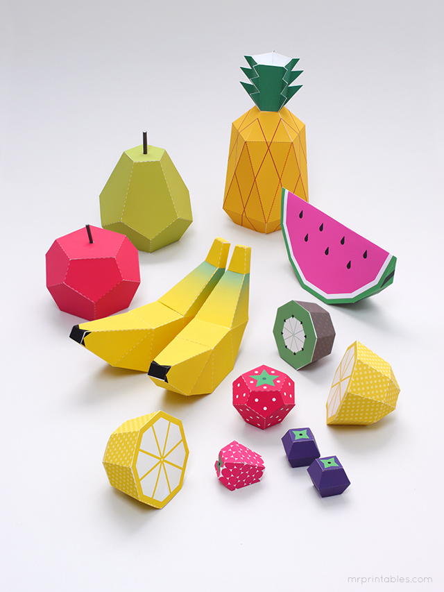 Play fruit paper toys by Mr Printables - templates 2