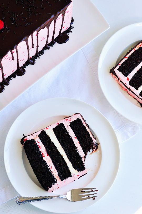 Dark Chocolate Raspberry Buttercream Cake 2